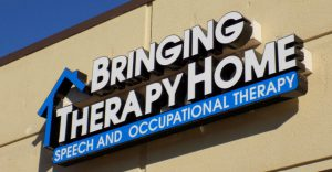 Light up channel letter sign for Bringing Therapy Home in Overland Park KS