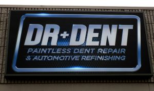 Lighted Cabinet Storefront Sign Overland Park KS Dr Dent