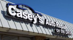 Lighted metal channel letter sign for Casey's Auto Repair in Mission KS